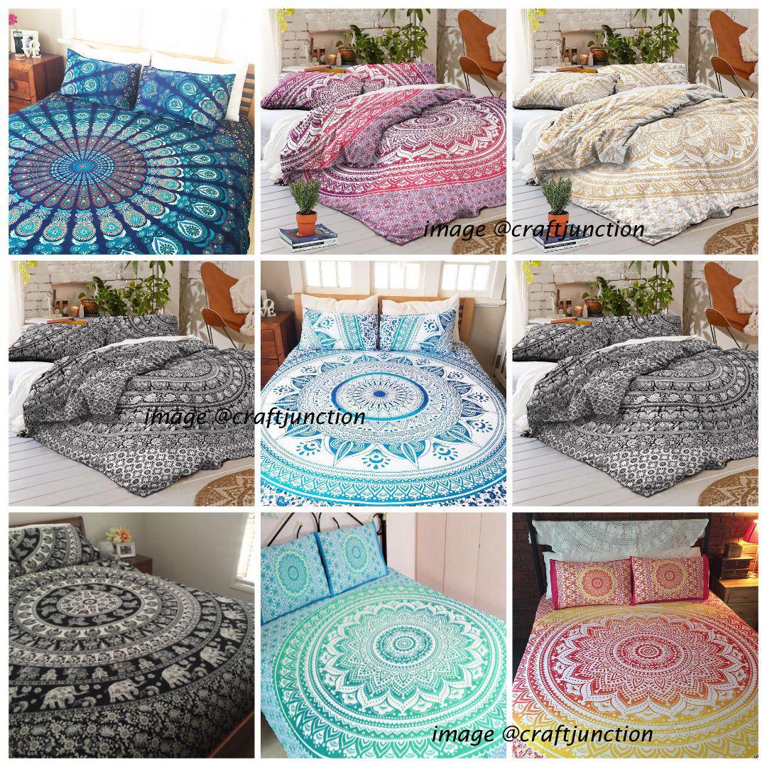 10 PC Duvet Cover Wholesale Lot Queen Mandala Pillow Case Doona Cover Cotton Art