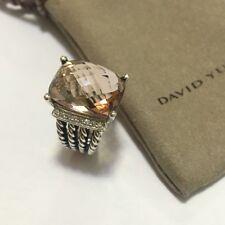 David Yurman Sterling Silver 16x12mm Morganite Diamond Wheaton Ring Size 8