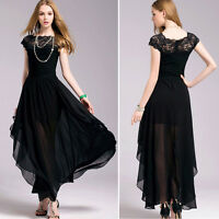 Women Lady Lace Chiffon Short Sleeve Evening Prom Party Cocktail Long Maxi Dress