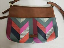 Fossil Fiona Chevron Satchel Cross body Blue Pink Multi PVC Leather