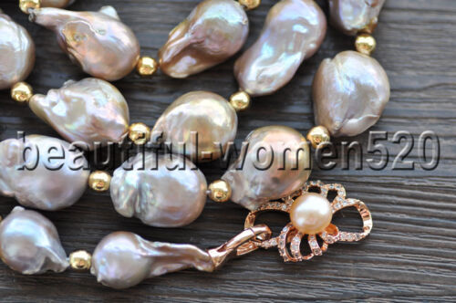 environ 101.60 cm Z9656 33 mm LAVANDE baroque Keshi Pearl Golden Bead Necklace 40 in