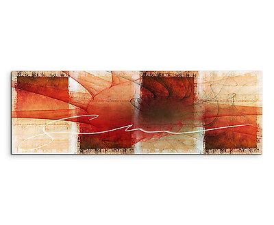 150x50cm Panoramabild Paul Sinus Art Abstrakt braun rot orange creme Wohnzimmer