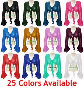 Belly Dance Tie Top Flair Wrap Choli Gypsy Haut Orientale Blouse Ruffle Purple