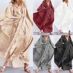 Plus-Size-Womens-Summer-Holiday-Maxi-Sundress-Satin-Beach-Party-Long-Shirt-Dress