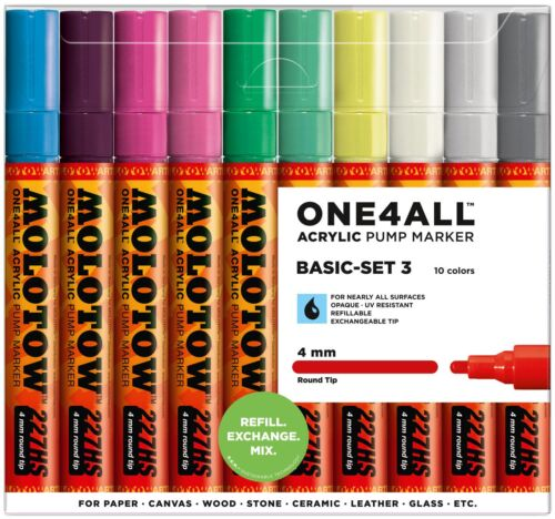 MOLOTOW ONE4ALL 227HS 10 PIECE DRAWING MARKER PEN SET BASIC SET 3