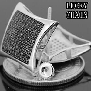 MEN`S XL 925 STERLING SILVER LAB DIAMOND SCREW BACK STUD EARRING W18mm E410