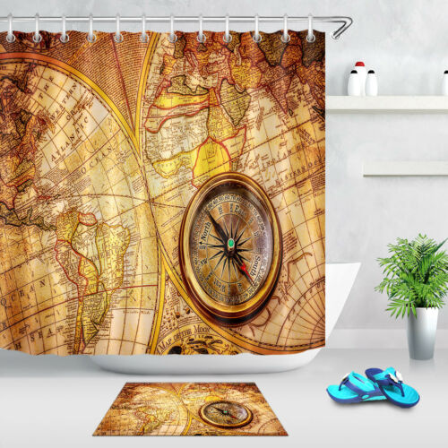Vintage Compass Old World Map Polyester Waterproof Fabric Shower Curtain Liner