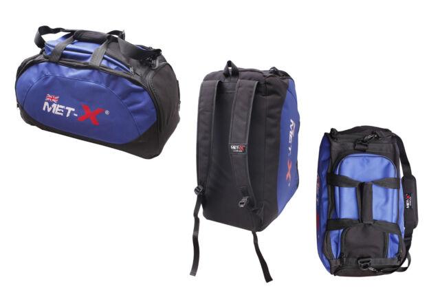 Met-X Gym Holdall Gear Bag Backpack Duffle Kit Sports MMA Gym Bag Ruck Sack Blue