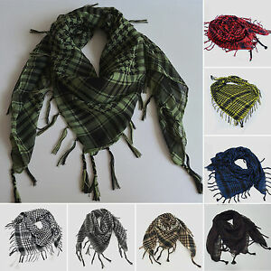Women-Men-Military-Shemagh-Arab-Tactical-Plaid-Checked-KeffIyeh-Neck-Scarf-Wrap