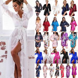 fa636f629a2018 Das Bild wird geladen Damen-Lange-Kurz-Kimono-Morgenmantel -Nachtwaesche-Bademantel-Hausmantel-