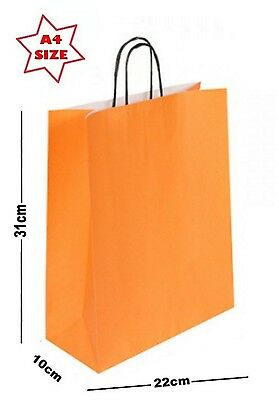5 x Paper Party Gift Bags SIZE A4 ~ Boutique Shop Loot Carrier Bag ~ Pick Colour