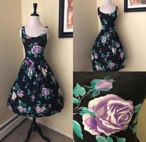 e51dbf994af Vintage 1980 s 50 s Style Purple Rose Tea Dress Sundress Tank Style ...