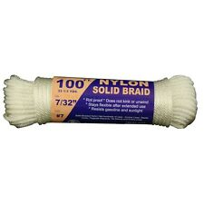 "T.W. Evans Cordage Co. 44-075 - 7/32"" Solid Braid Nylon Rope 100' Hank NEW"