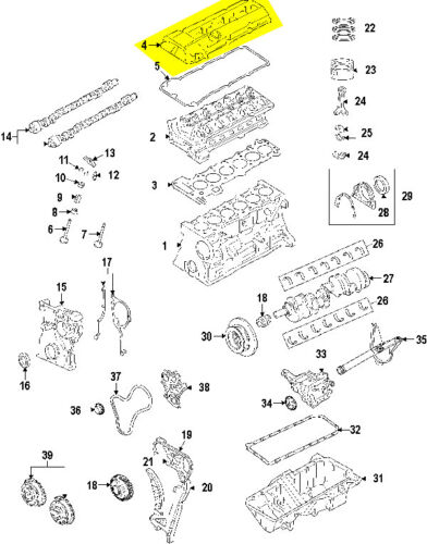Engine Valve Cover With Crankcase Vent Valve,Gasket Set /& Bolts Assembly For BMW