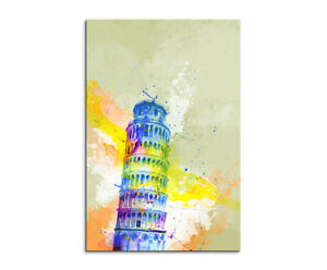 Schiefe-Turm-von-Pisa-90x60cm-Aquarell-Art-Leinwandbild