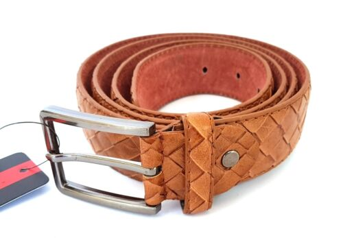 ds Cinta Cintura Uomo Pelle Marrone A-533 Elegante Glamour Fashion Squame hac