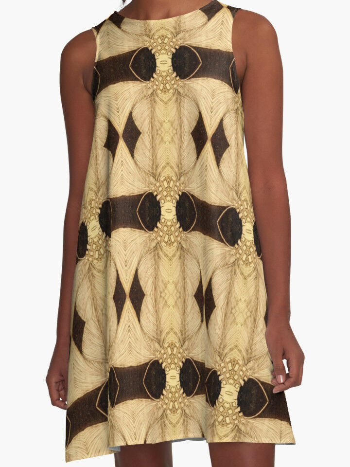 DESIGNER STYLE A-LINE DRESS  w Exclusive Solar Etched Design  Palms   Classy