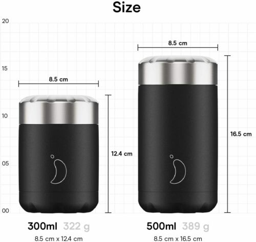 300ml Mono Grey Chilly/'s Food Pot Double Walled Reusable Food Container S//Steel