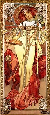 Mucha Lady Fruit Basket Red Hair Flower  Vintage Poster Repro FREE SHIPPING