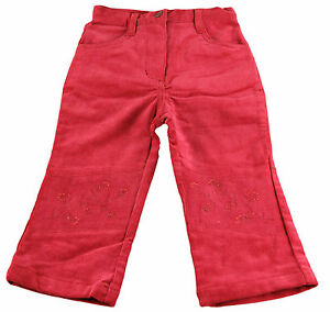 JACADI-Girl-039-s-Agiter-Lacquered-Red-Floral-Cotton-Velour-Pants-Sz-4-Years-NWT-56
