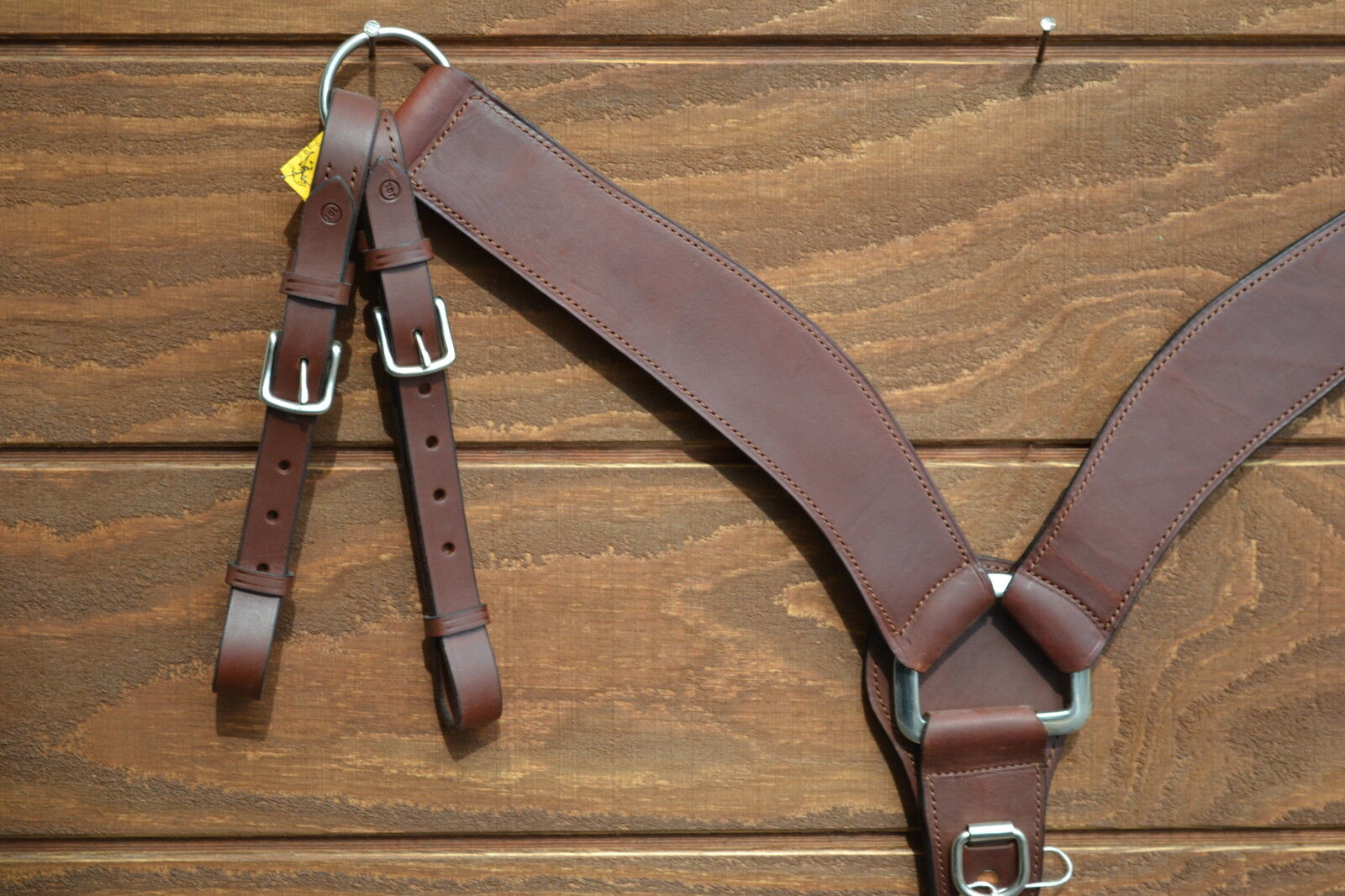2.5  Heavy Dark Oil Leather Shaped Roping Breast Collar - Double Tugs