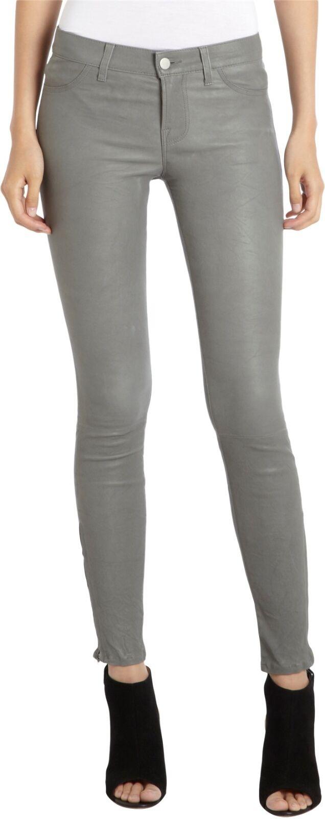 J BRAND SUPER SKINNY LEATHER JEANS Pants L8001 color Cement Grey