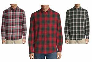 St-Johns-Bay-Mens-Long-Sleeve-Flannel-Shirt-Plaid-size-S-M-L-XL-XXL-NEW