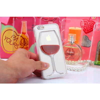 3D Cool Clear Dynamic Liquid Red Wine Cup Case Cover For iPhone7/6s/Plus/5/5S