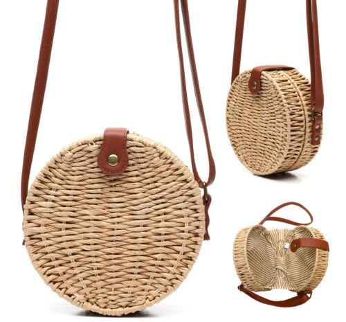Women/'s Vegan Bohemian Woven Canteen Handbag Wicker Lined Boho Chic Purse