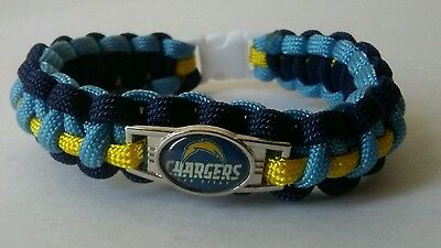 "SAN DIEGO CHARGERS PARACORD BRACELET 550 CORD SPORTS 8.5"" FOOTBALL BLUE YELLOW"