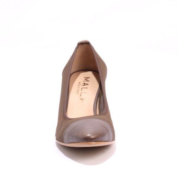 Mally 5331 Pewter Leder Stretch / Braun Stretch Leder Vintage Look Heels 39 / US 9 e0e288
