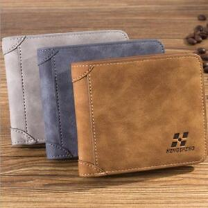 Men-PU-Leather-ID-credit-Card-Holder-Clutch-Bifold-Coin-Purse-Wallet-Pockets-S