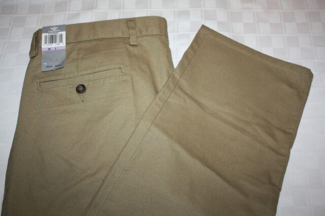 929d2e1e DOCKERS Mens The Clean Easy Khaki Slim Fit D1 Flat Front Dress Pants 36 X 32