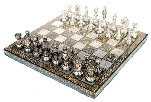 "100 % Brass 10"" x 10"" Collectible Premium Metal Brass Made Chess Board Game Set"