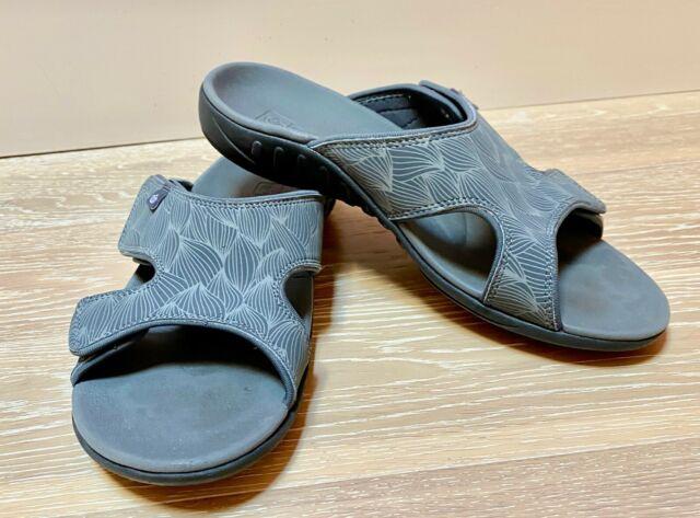 Spenco Womens Orthotic Slide Sandals Kholo Gray 10M