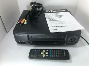 Emerson-VCR-VHS-4-Head-Digital-Track-Commercial-Skip-ChildLok-EV-598-Book-Remote