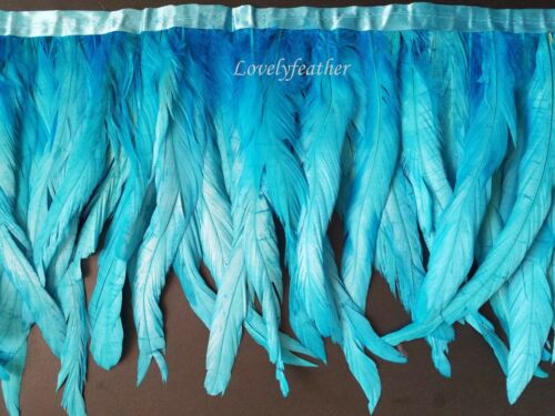 Coque tail feather fringe of turquoise colour 2 yards trim