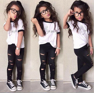2pcs Toddler Infant Baby Boy Girl T-shirt Tops+Pants Trousers Outfit Clothes Set