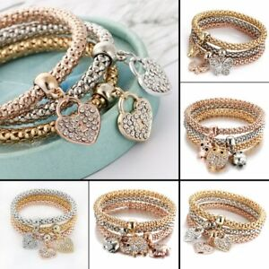 Women-Girls-3Pcs-Set-Gold-Silver-Rose-Gold-Bracelets-Rhinestone-Bangles-Jewelry