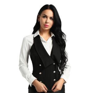 Damen Neckholder Slim Weste Zweireiher Waistcoat Business Freizeit Anzug-Weste