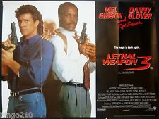 LETHAL WEAPON 3 ORIGINAL 1992 QUAD POSTER MEL GIBSON DANNY GLOVER