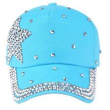 US Fashion Baseball Cap Rhinestone Star Shaped Boy Girls Snapback Hat BLUE