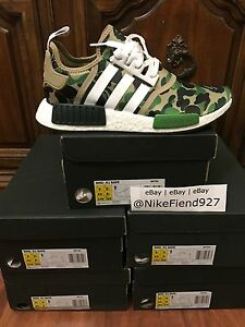new concept 772c3 7e965 Image is loading Adidas-NMD-R1-Bape-Green-Camo-Army-Bathing-