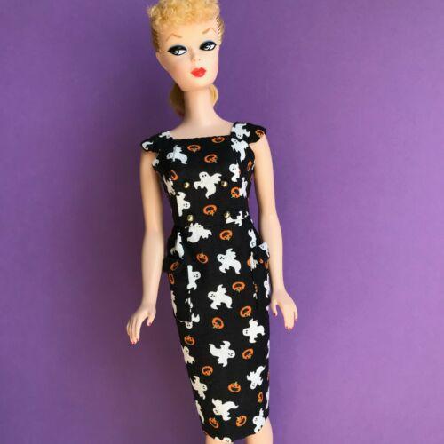 Barbie Vintage Reprodução feita à mão Bainha Vestido Halloween Fantasma Abóbora Impressão