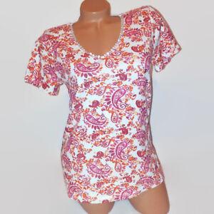 Basic-Editions-Womens-Tunic-Knit-Top-Orange-White-Paisley-Short-Sleeve