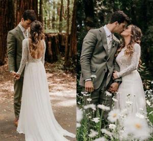Details Sur Bohemian Beach Boho Wedding Dress Bridal Gowns Long Sleeve Backless Custom Made
