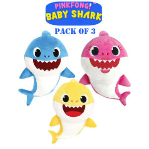 3pcs-26cm-Baby-Shark-Softtoy-Plush-Toy-Doll-Popular-English-Song-Kids-NoMusic-AU