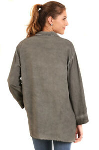 UMGEE-Womens-Grey-Washed-Faded-Distressed-Long-Sleeve-Tunic-Top-Shirt-S-M-L