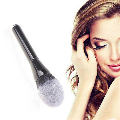 Fashion Black aluminum tube white-tipped flame head blush brush makeup brush