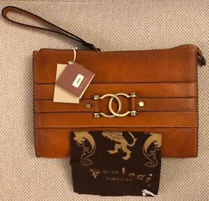 Pratesi Firenze Wallet Clutch Wristlet Cognac Brown Leather Italian NWT
